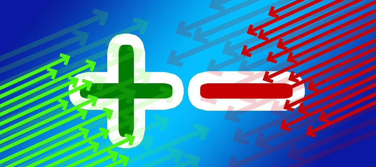 פלוס ירוק ומינוס אדום